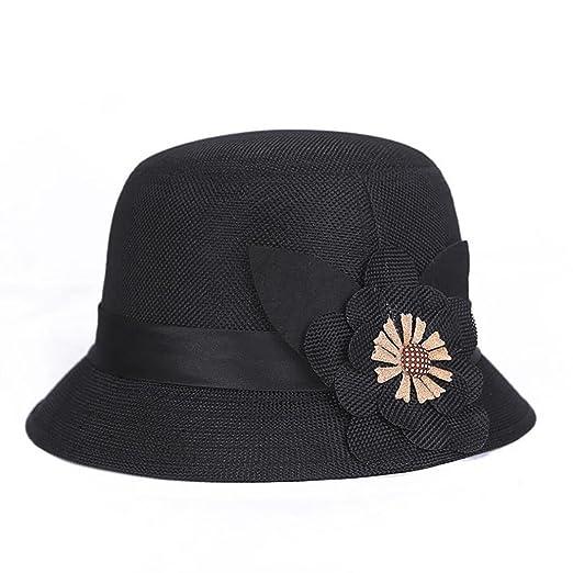 Softmusic Retro Flower Linen Bucket Hat Party Travel Women Ladies Wide Brim  Sun Hats 10644896e1f