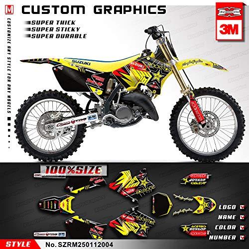 (Kungfu Graphics Rockstar Custom Decal Kit for Suzuki RM125 RM250 2001, Yellow Black)