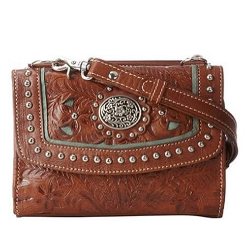 American West Two Cuero Paso del Cruz-cuerpo del bolso de la cartera: Amazon.es: Zapatos y complementos