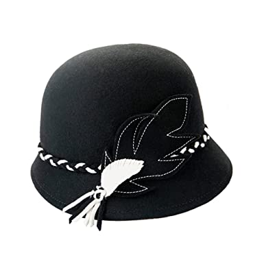 Cloche Hat Women Girl Lady Vintage Braided Colored Hatband Wool ... ccb84f3bc53