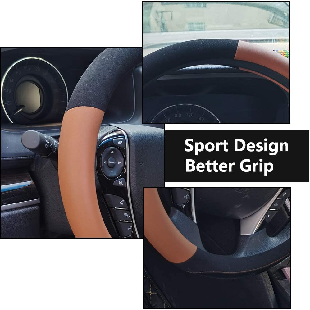 Odorless Steering Wheel Cover Microfiber Leather Viscose Anti-Slip Universal 15 Inches Breathable red-1 Warm in Winter Cool in Summer