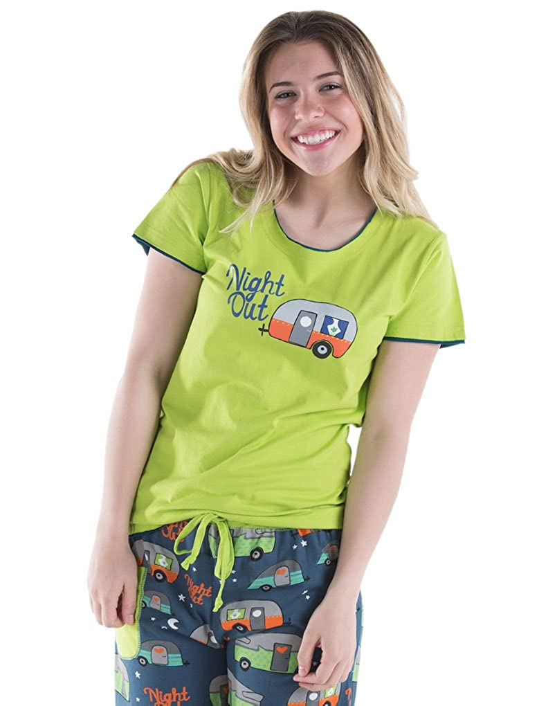 Lazy One WTS250 Women's Night Out Camping Green Cotton Pajama Pyjama Top LazyOne