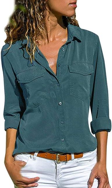 Camisa Mujer Blanca Manga Larga Talla Grande Negra Sexy Cuadros Corta Vestir Botones Gasa Verano Vaquera Verde Azule Blusas para Mujer Elegantes Fiesta Camisetas POLP (L, Azul): Amazon.es: Ropa y accesorios