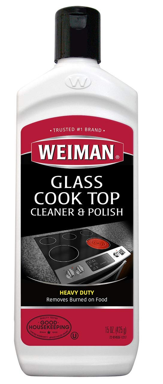 Weiman Glass Cooktop Heavy Duty Cleaner & Polish - Shines and Protects Glass/Ceramic Smooth Top Ranges with its Gentle Formula - 15 Oz.