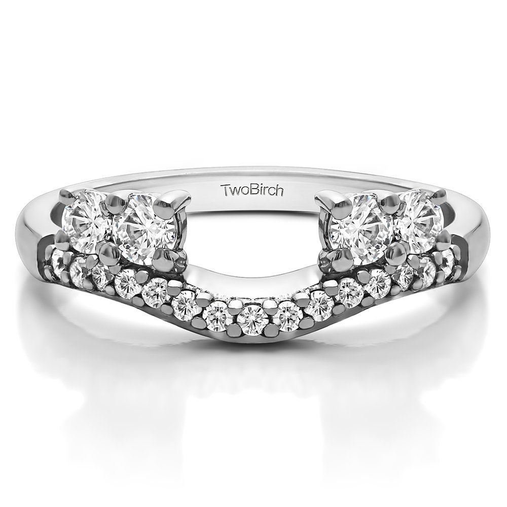 TwoBirch 0.49 ct. Cubic Zirconia Contour Three Stone Ring Wrap in Sterling Silver (1/2 ct. twt.)
