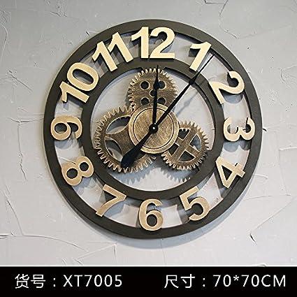 Y-Hui Aire Industrial de engranajes de madera Reloj de pared hasta el antiguo salón