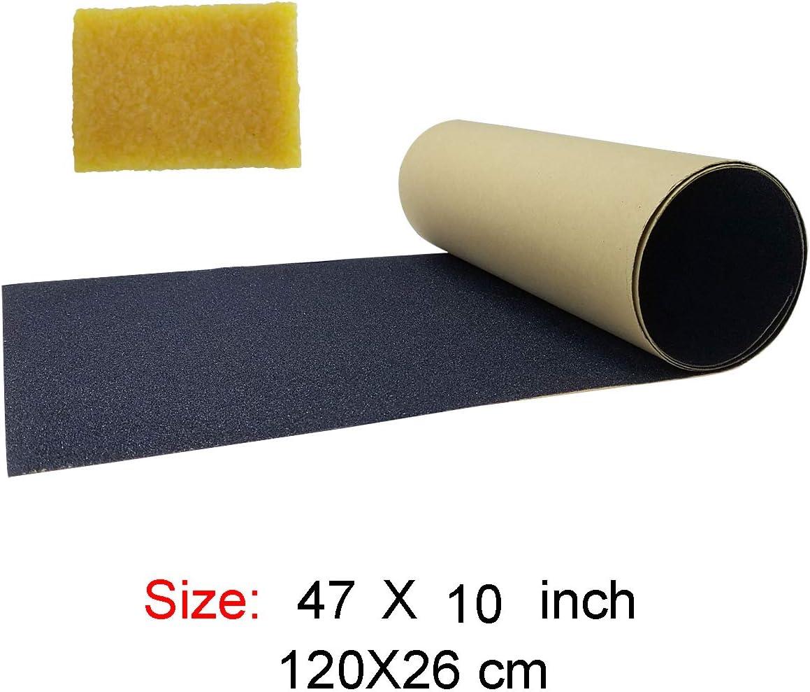 """M-jump 10"""" x 47"""" Skateboard Grip Tape Sheet, Waterproof Black Scooter Grip Tape, Longboard Griptape / US"""