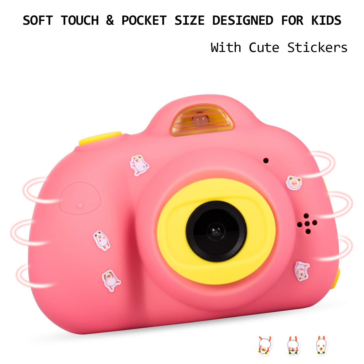 Deeteck Kids Digital Camera,Dual 8MP HD Video Toy Cameras,Gifts for 4-8 Year Old Girls & Boys,Mini Camcorders for Child Support Selfie with 16GB Memory Card(Pink) by Deeteck (Image #6)