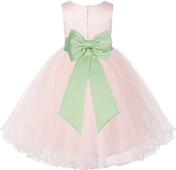 Amazon.com: Vestido de bautizo, diseño de flor de tul, color ...