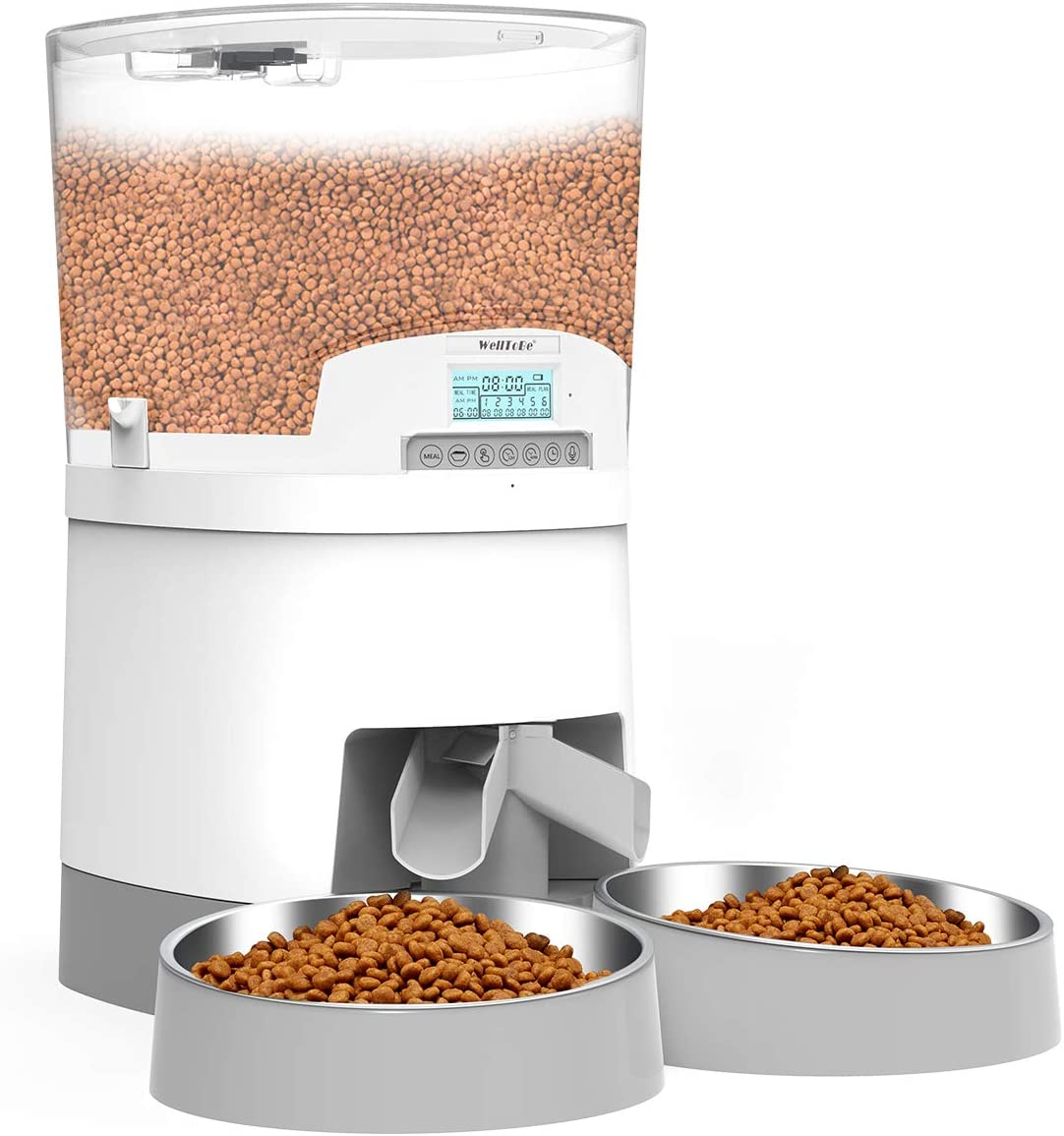 WellToBe 7L Automatic Cat Feeder for Two Animals,Pet Feeder Dog Food Dispenser Transparent Hopper Includes Double Bowls for Cats&Large Dogs,up to 6 Meals with Portion Control,Voice Recorder,Dual Power