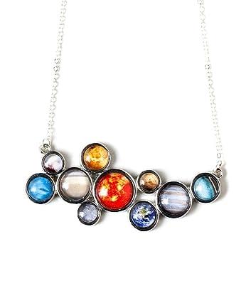 Amazon solar system necklace silver tone bib pendant jewelry solar system necklace silver tone bib pendant mozeypictures Gallery
