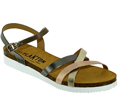 PLAKTON Damen Sandalen, Mehrfarbig PlatinoSalmAC Größe