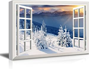 wall26 Window View Canvas Wall Art - Snow Covered Pine Tree Forest - Giclee Print Gallery Wrap Modern Home Art Ready to Hang - 24x36 inches