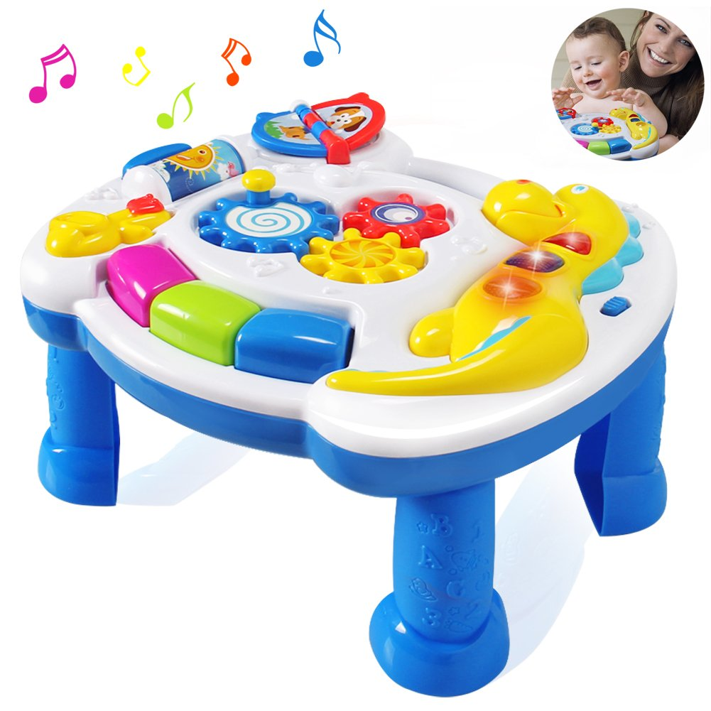 HOMOF Baby Toys Musical Learning Table 6 Months up-Early Education Music Activity Center Game Table Toddlers,Infant,Kids Toys for 1 2 3 Years Old Boys & Girls- Lighting & Sound (New Gifts) (color1)