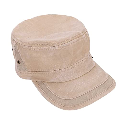 f94628b7b92629 LONTG Unisex Cap Cadet Army Solid Brim Hat Fitted Military Cotton Twill  Peaked Cap