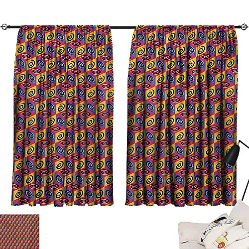 Davishouse Geometric Sliding Curtains Colorful Cube Pattern with Spirals Squares Illustration with Abstract 3D Effects Darkening and Thermal Insulating