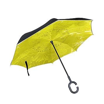 Bennigiry - Paraguas invertido de doble capa con pétalos de sol dorados y protección contra el