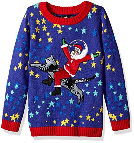 Boys' Big Santa On A Cat in Space Ugly Christmas Crew