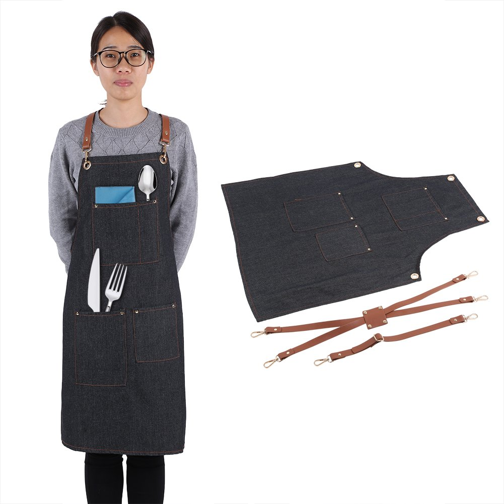 Denim Apron,Denim Bib Apron with Adjustable Leather Strap Pocket Cook Jean Uniform for Baker Bartender BBQ Chef Painter Women Men (C style)