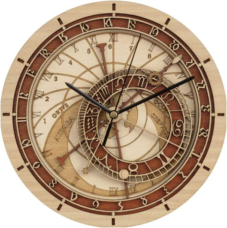 gjdm Relojes De Pared Praga Astronómica Cuarzo De Madera 12 Constelación Gran Diseño Silencioso De Brown Duradero Hermoso Fácil De Instalar Durable Hermoso Fácil De Instalar