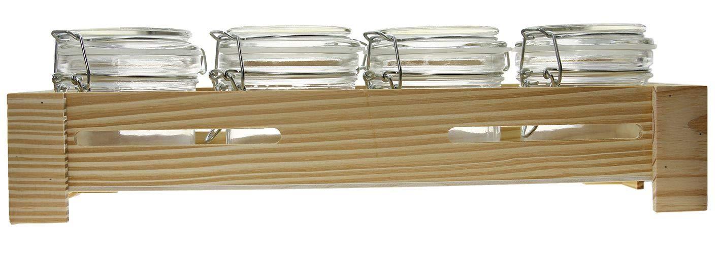 capacidad: 4 x 165 ml ideal para guardar peladillas Juego de 4 recipientes de cristal con cierre herm/ético dimensiones: 37 x 10 x 11 cm conservas especias o salsas tarros con base de madera