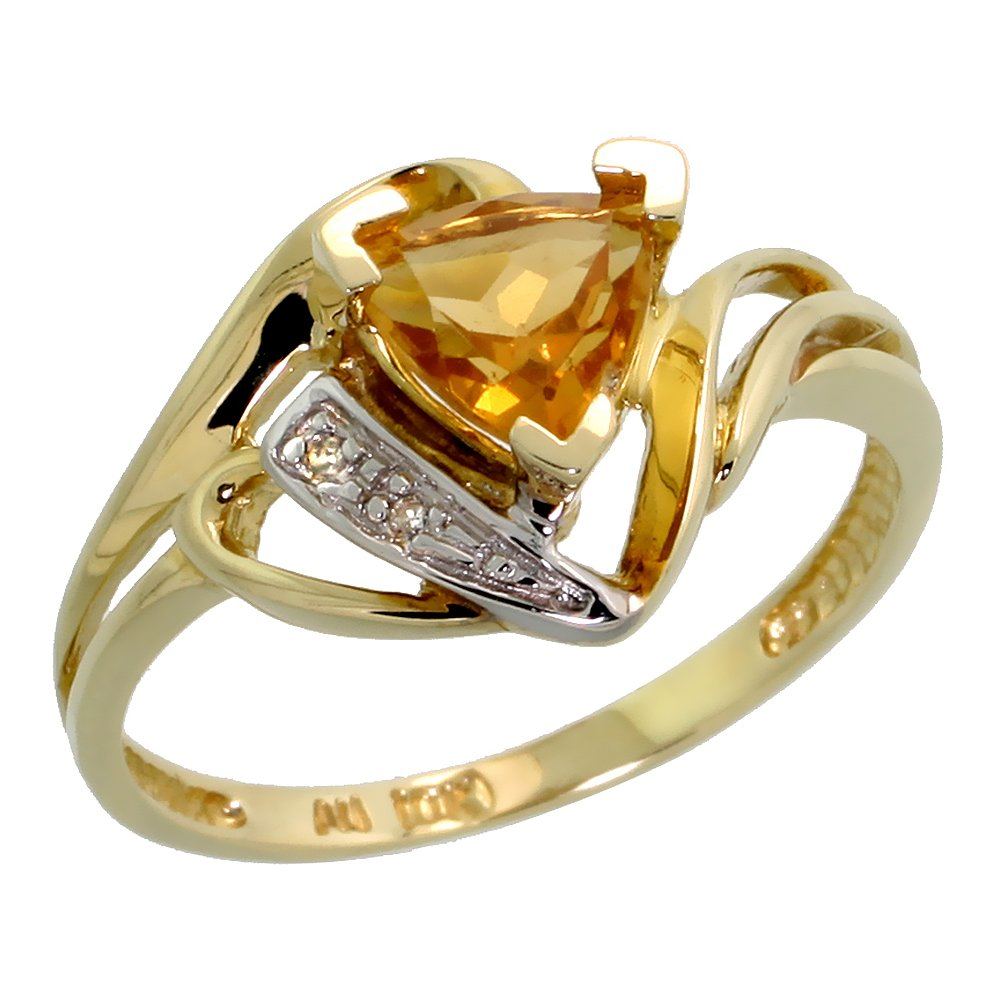 10k Gold Diamond Natural Citrine Ring Trillium Cut 6mm November Birthstone 1/2 inch wide, size 8