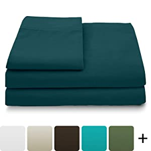 Cosy House Collection Luxury Bamboo Bed Sheet Set - Hypoallergenic Bedding Blend from Natural Bamboo Fiber - Resists Wrinkles - 4 Piece - 1 Fitted Sheet, 1 Flat, 2 Pillowcases - King, Dark Teal