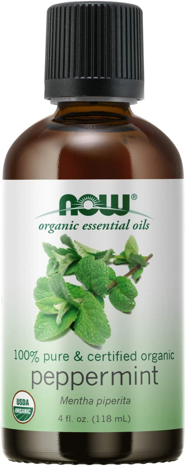 NOW Essential Oils, Organic Peppermint Oil, Invigorating Aromatherapy Scent, Steam Distilled, 100% Pure, Vegan, Child Resistant Cap, 4-Ounce