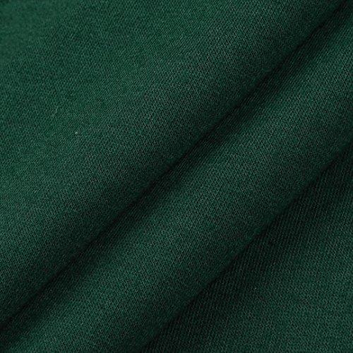 camicette del Camicetta superiori lunghe un della manicotto Top a trio parti solido lungo Verde di autunno casuali ruches unito delle con maniche pullover rappezzatura 0wP7x