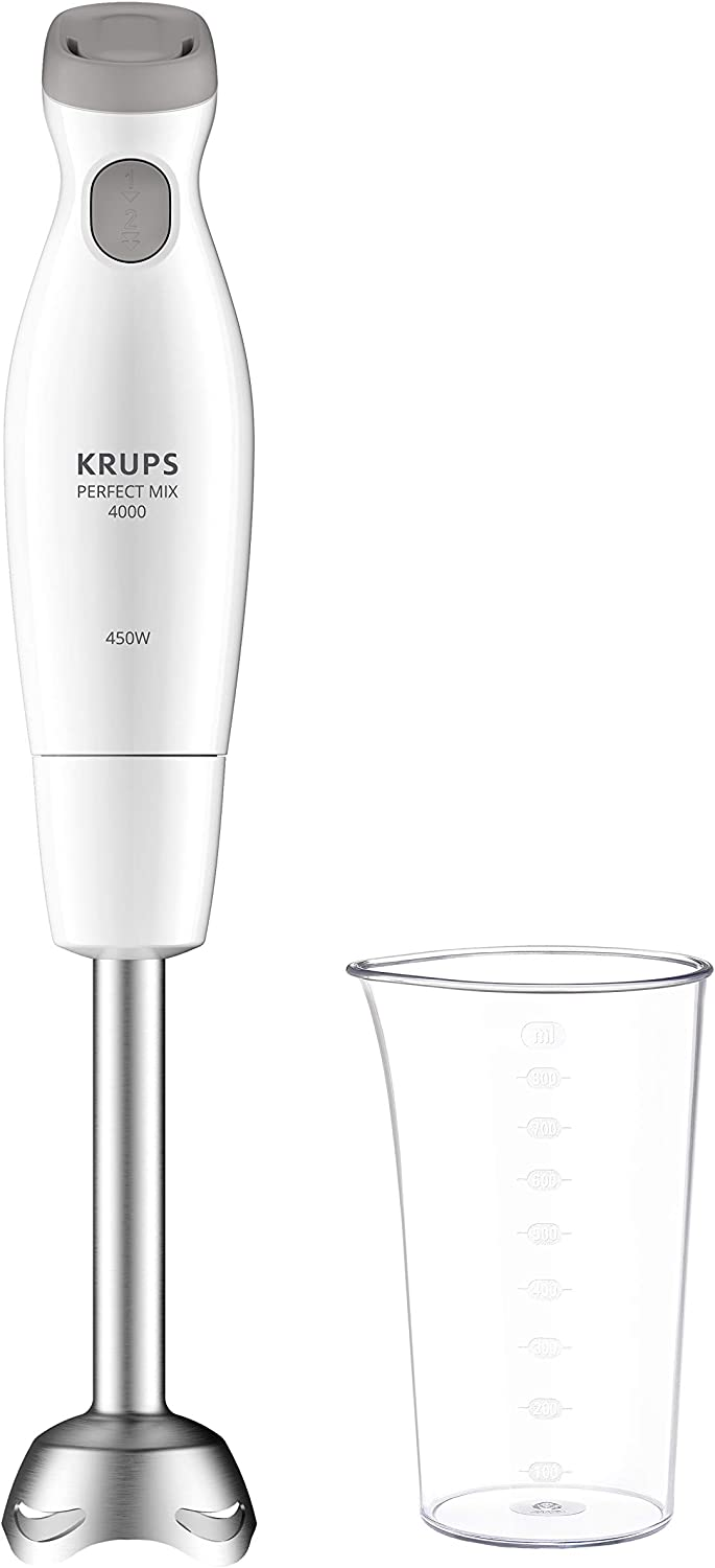 Krups Perfect Mix 4000 HZ451110 450 - Batidora de mano, 800 ml, color blanco y gris claro