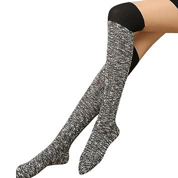 Yosemite calcetines por encima de la rodilla muslo alto medias de punto invierno caliente para mujer, negro: Amazon.es: Deportes y aire libre
