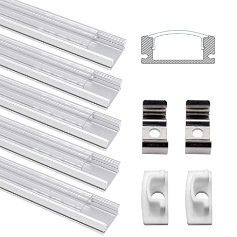 5*1M V-Style Aluminum Anodized Profile Channel w//Milky Cover for LED Light Strip