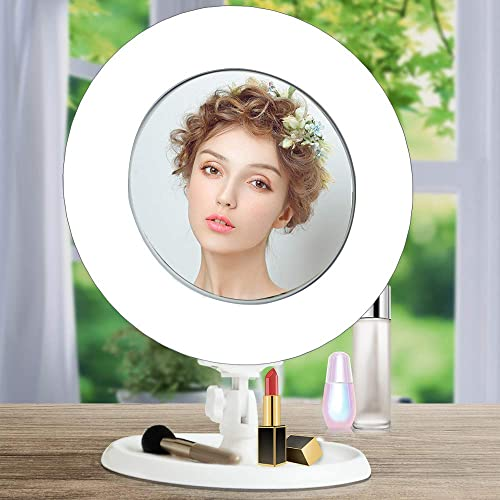 Cyezcor Lighted Makeup Mirror With Lights Desktop Vanity Mirror With LED Light Dimming, 360 Degree Rotation, 3x Magnifying Double Sided Mirror
