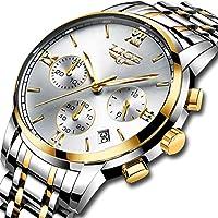 Relojes Hombre,LIGE Acero Inoxidable Cronógrafo deportivo Relojes analógico de cuarzo Correa de Cuero impermeable Fecha Moda Casual Lujo Relojes de pulsera