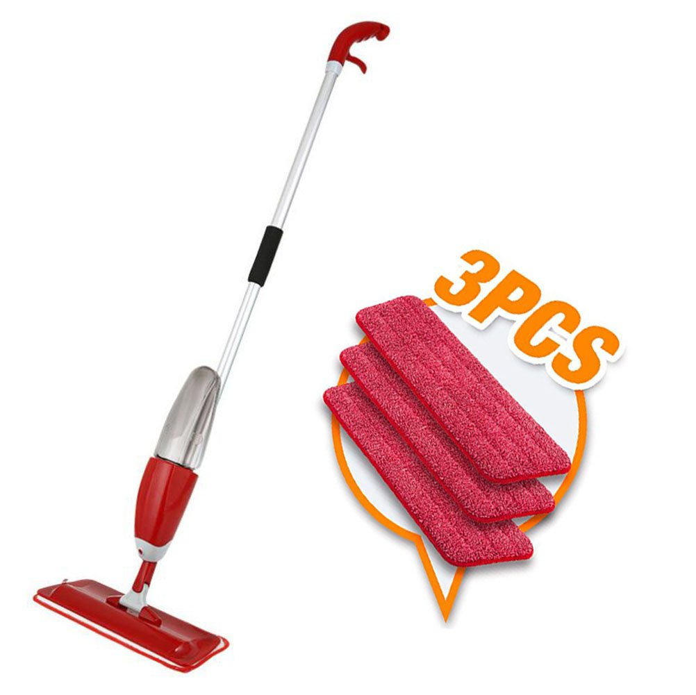 Wet Dry Microfiber Spray Floor Mop Set, 3 Reusable Washable Pads, Multi-Surface Cleaner for Kitchens, Hardwoods, Laminate Floors,Red