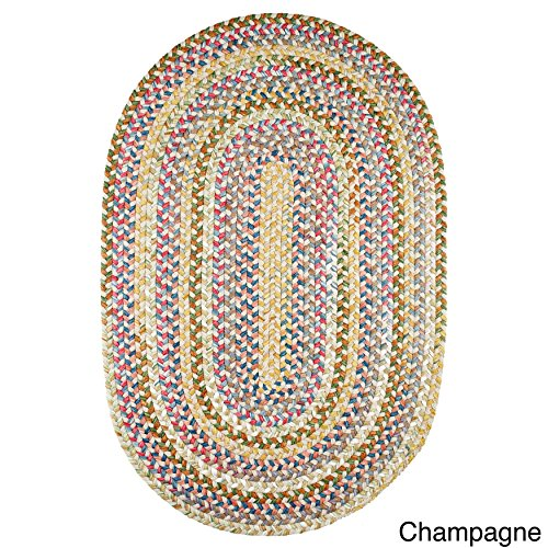 Rhody Rug Charisma Oval Braided Nylon Indoor/Outdoor Rug (7' x 9') Champagne