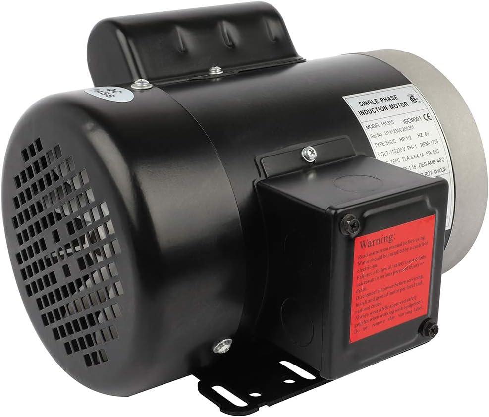 GYZJ 0.5Hp Electric Motor for Air Compressor Single Phase 1750RPM 60HZ 115//230Volt CW//CCW Rotation Compressor Duty Electric Motor