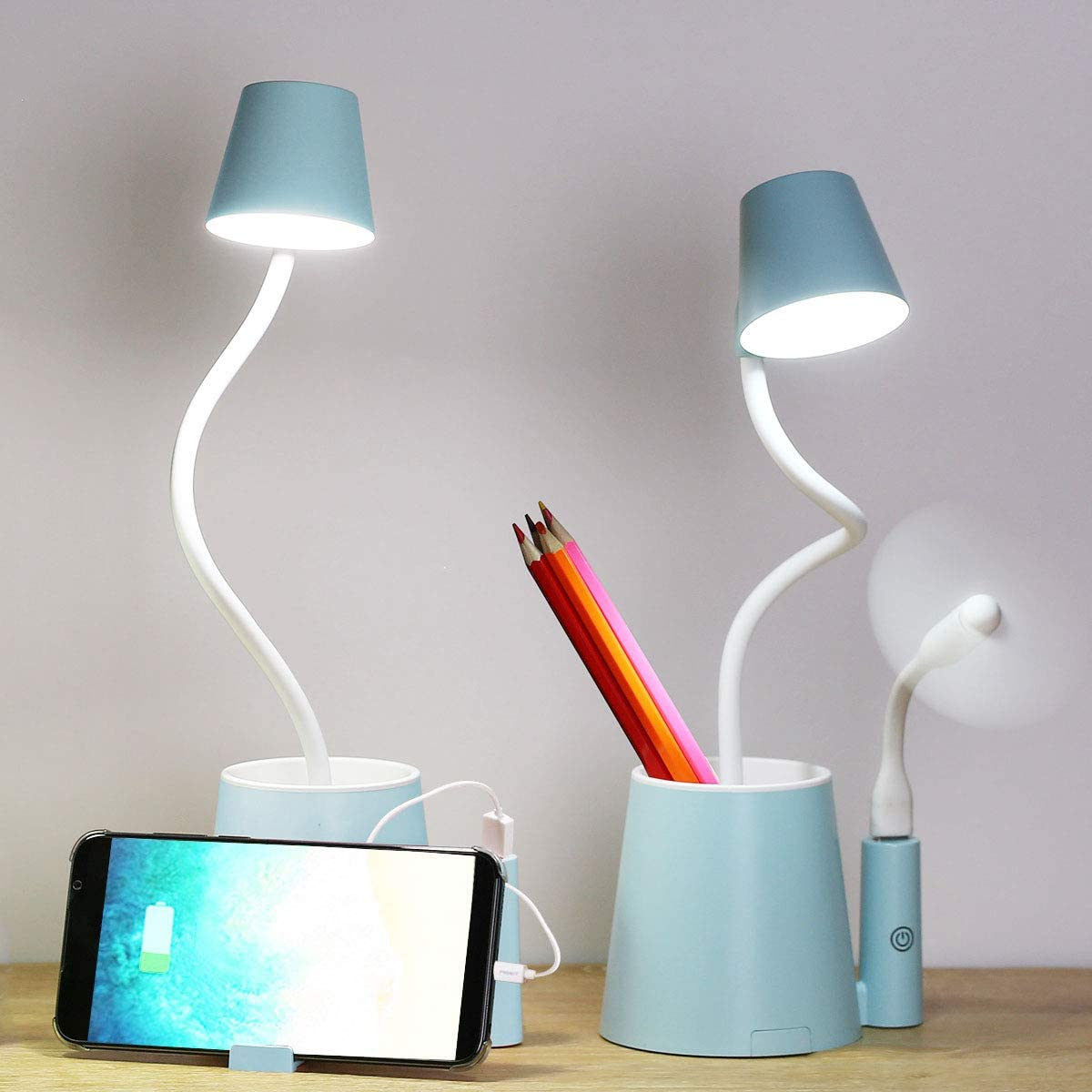 Desk Lamp Kids Small USB Rechargeable Student Cute Led Eye Protection Table Lamp Dimmable Touch Control, Storage with Phone & Pen Holder for Child, Girls, Boys, Gifts, Office, Home, Dorm, Room (Blue)