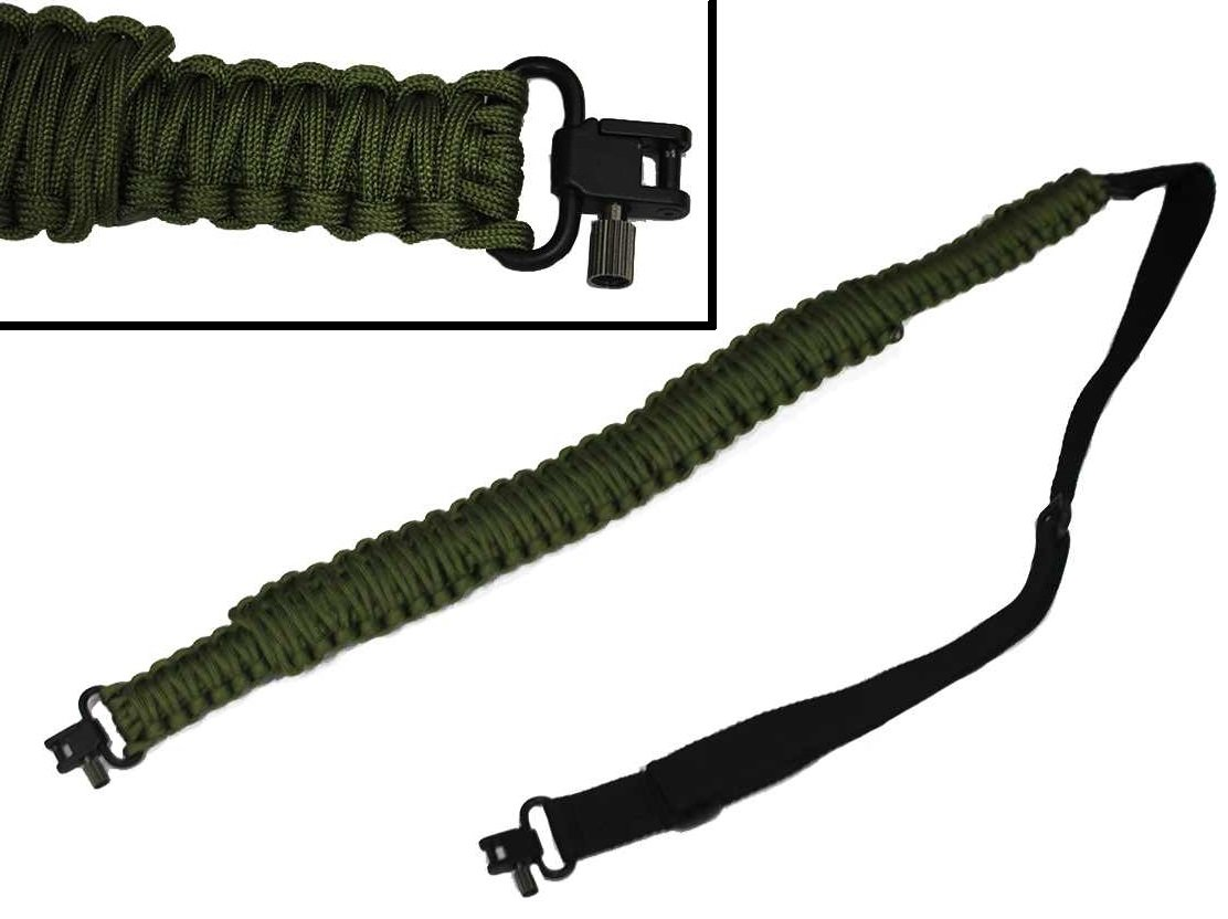 Ultimate Arms Gear 550 lb Paracord Survial Shoulder Harness Strap Sling, OD Olive Drab Green Over 56' ft Parachute Cord with Swivels for Benelli 12/20 Gauge Shotgun