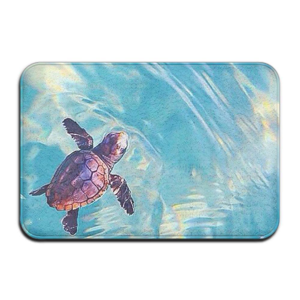 BINGO BAG Baby Sea Turtles Party Animals Indoor Outdoor Entrance Printed Rug Floor Mats Shoe Scraper Doormat For Bathroom, Kitchen, Balcony, Etc 16 X 24 Inch