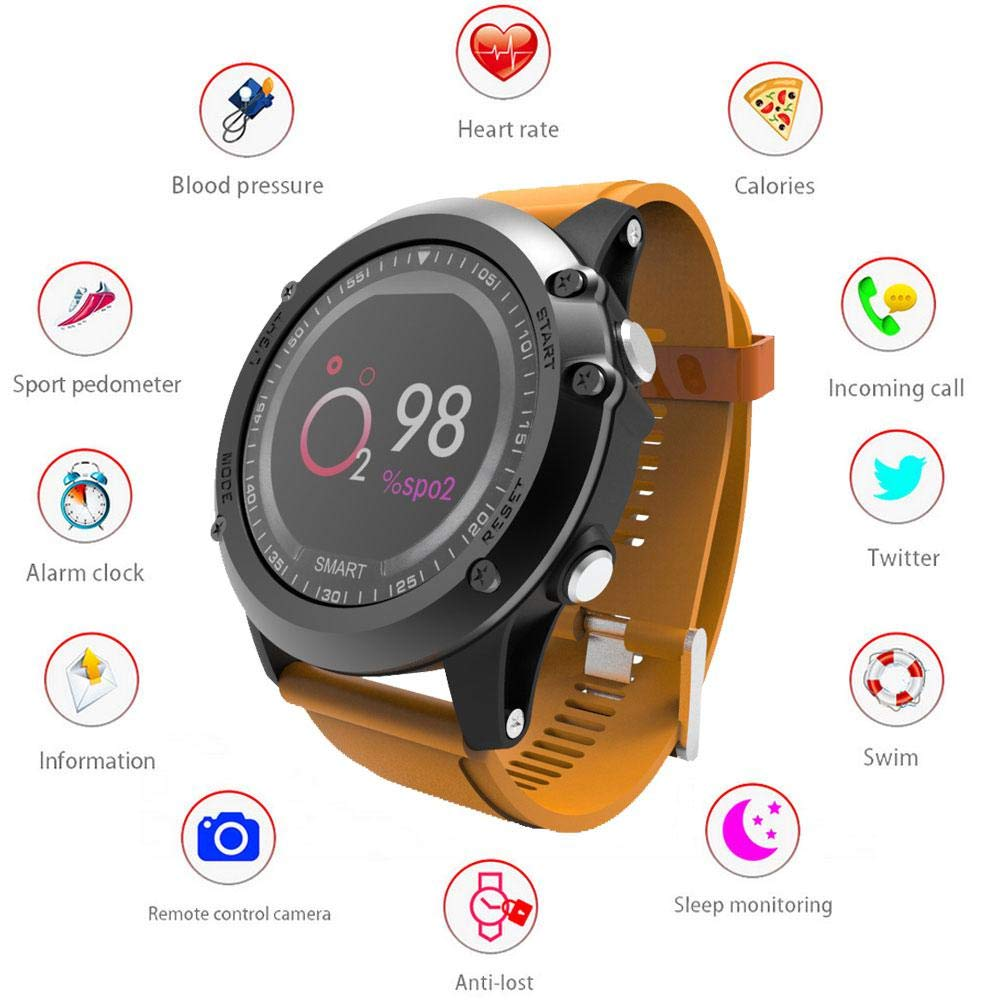 KOBWA Smartwatch, Bluetooth Smart Watch Touch Screen Waterproof IP68 Fitness Tracker Watch with Heart Rate Monitor Pedometer Sleep Monitor Stopwatch SMS Call Notification for iOS Android Phone