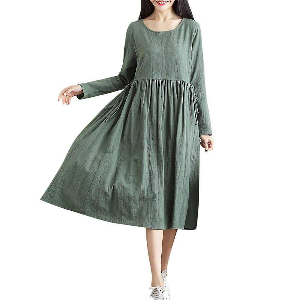 AMSKY Floral Maxi Dresses for Women with Sleeves,Fashion Women Long Sleeve Solid O-Neck Loose Plus Size Long Dress with Elastic, Clothing > Exotic Apparel > Women > Panties > Briefs,Green,M