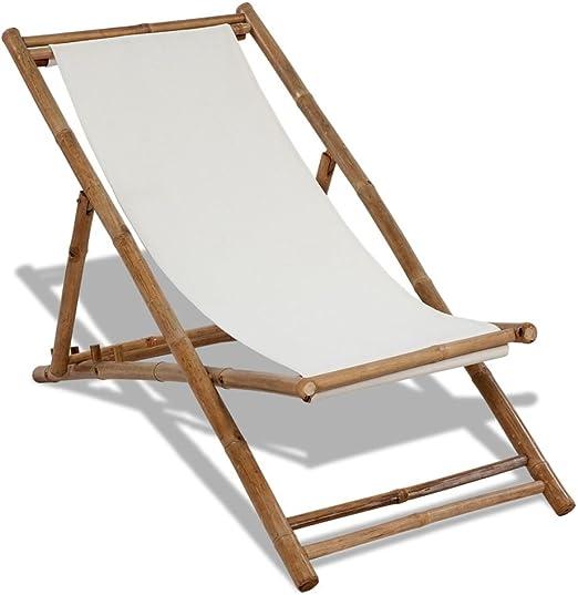 vidaXL Tumbona de Jardín Bambú Lona Hamaca Tomar el Sol Siila de ...