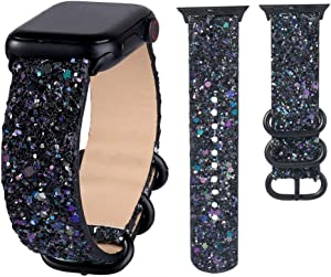 JOHIPI Bling Bands Compatible with Apple Watch Band 38mm 40mm 42mm 44mm Series 6 5 4 3 2 1 SE Bands Women, iWatch Shiny Bling Glitter Leather Loop Buckle Strap Sports & Edition (Black, 38mm/40mm)