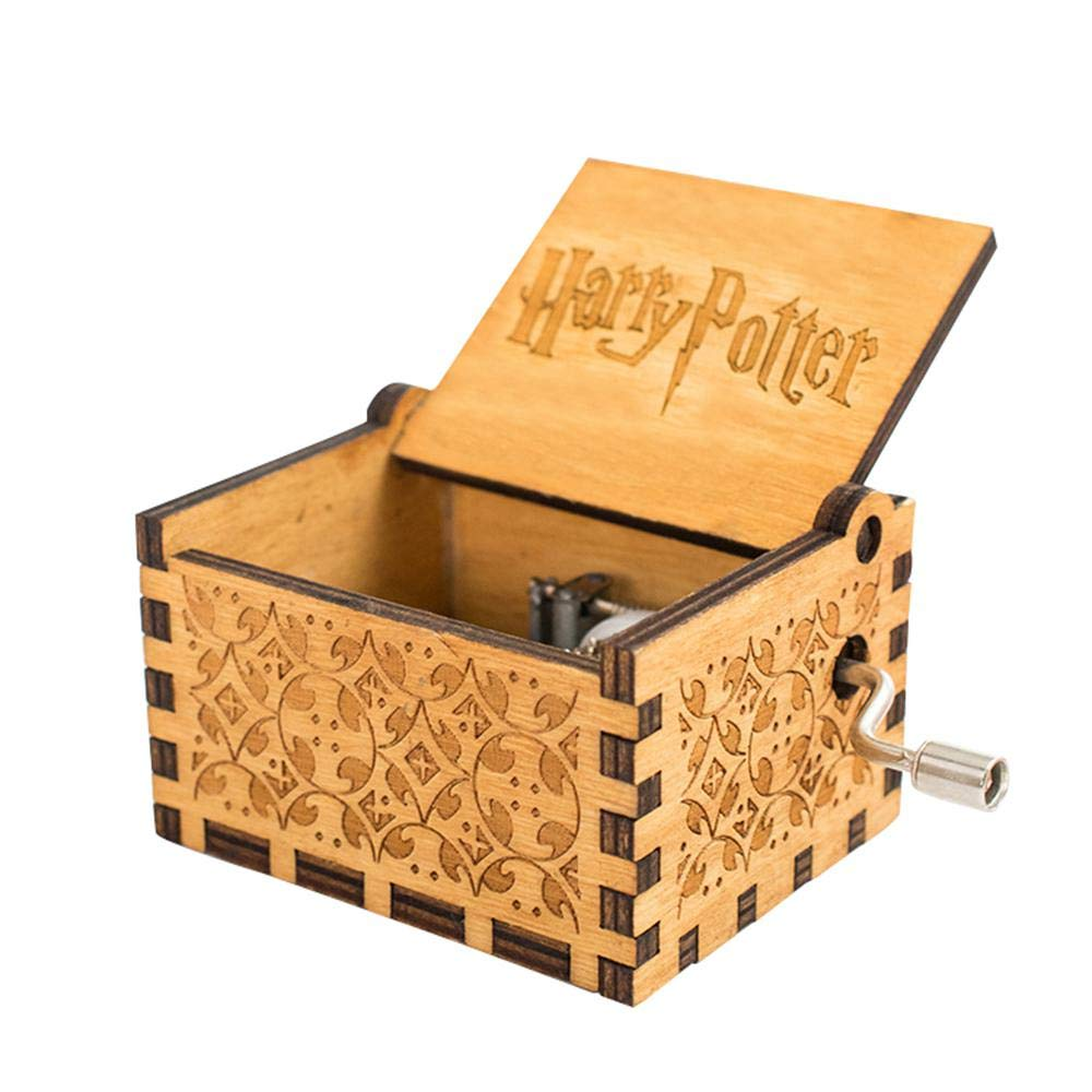 Pawaca Harry Potter Music Box, Hedwig Theme Hand Crank Musical Box, Carved Wooden Personalizable Music Box (Wood)