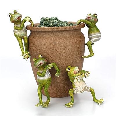 3D Creative Frog Statues/Figurines, Planter Pot Hanger Decoration, Miniature Fairy Garden and Terrarium Fairy Climbing Frogs, Craft Frog animal Ornaments for Office Desk Home Garden Pot Decor, 4 Pcs : Garden & Outdoor