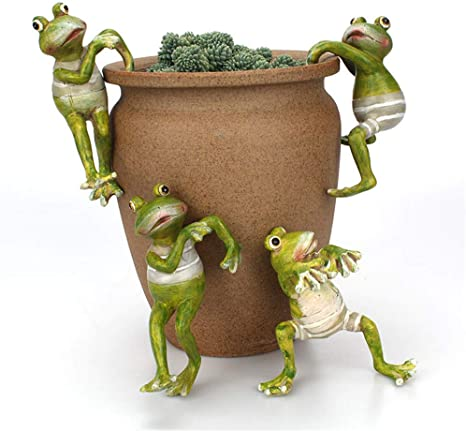 JYCRA 4 piezas de ranas de escalada de dibujos animados, mini figuras creativas de rana adornos de animales en maceta para escritorio de oficina, ...