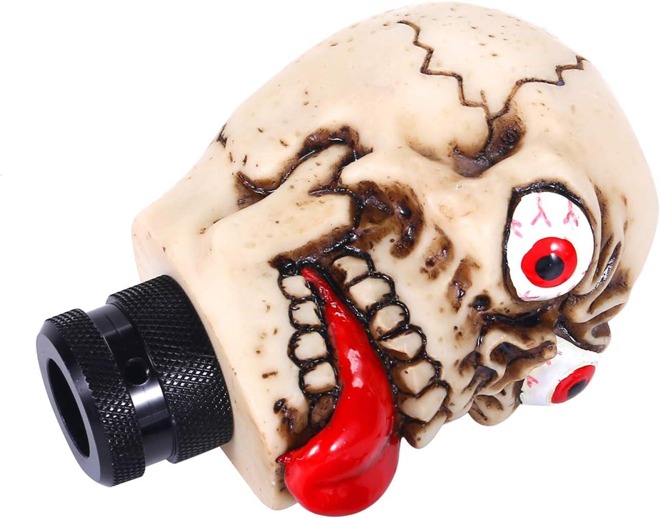 Beige Bashineng Car Auto Gear Stick Shift Knob Big Tongue Skull Transmission Shifter Knobs Head Fit Most Automatic Manual Vehicle