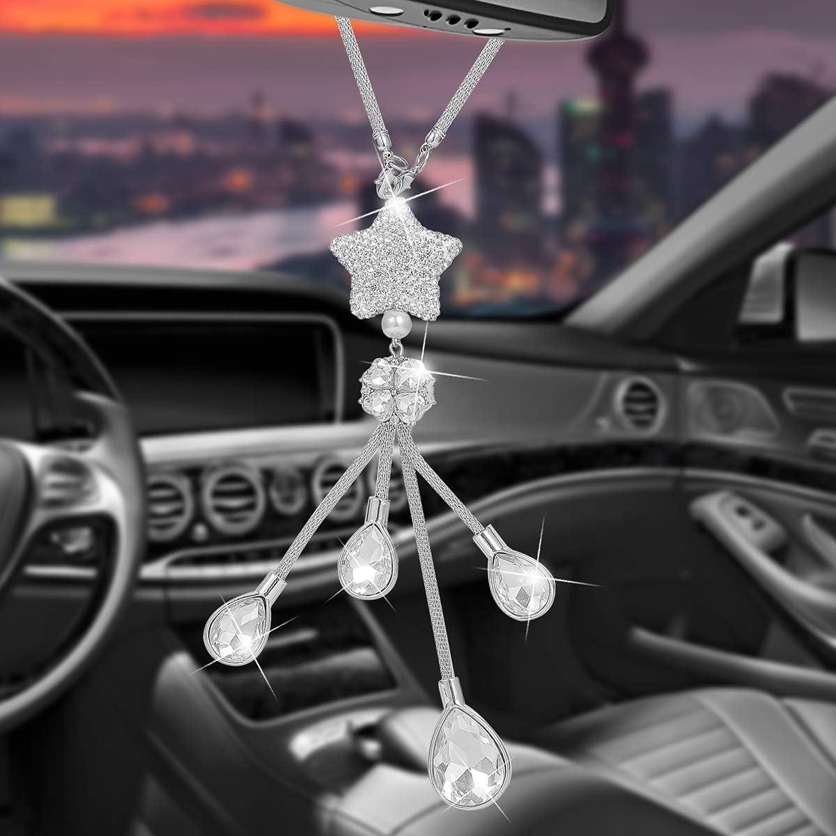 YCHZ White Bling Car Accessories for Women and Men Pretty White Lucky Star Car Decoration Crystal Star Rear View Mirror Charm Rhinestone Diamond Sun Catcher Ornament Pendant (White Star Pendant)