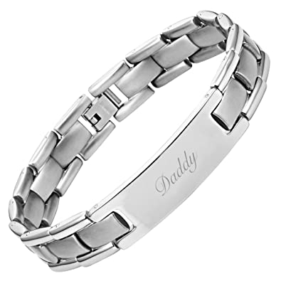 DAD Titanium Bracelet Engraved Love You Daddy Adjusting Tool & Gift Box Included AZVrvF
